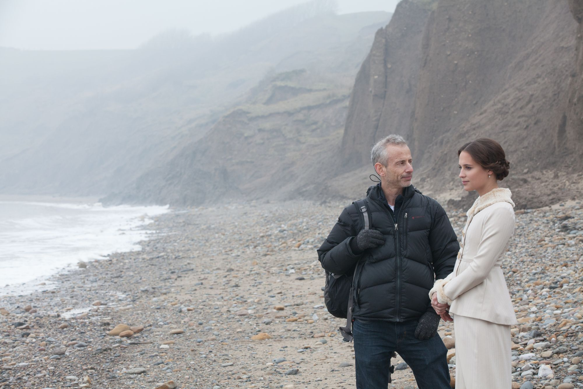 Film director James Kent on the set Testament of Youth movie backstage images with Alicia Vikander